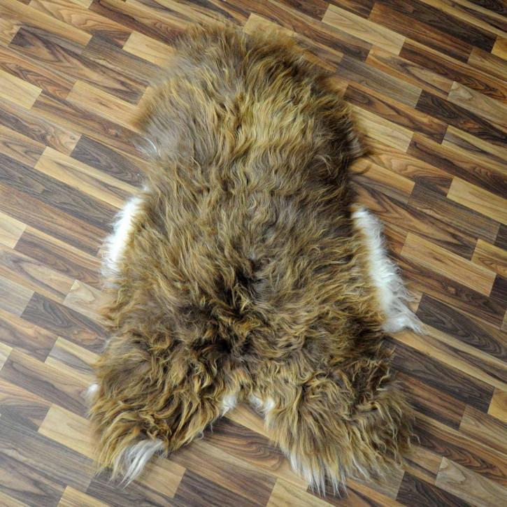 XL Island Schaffell grau schwarzbraun 115x80 Kamin Vorleger #3430