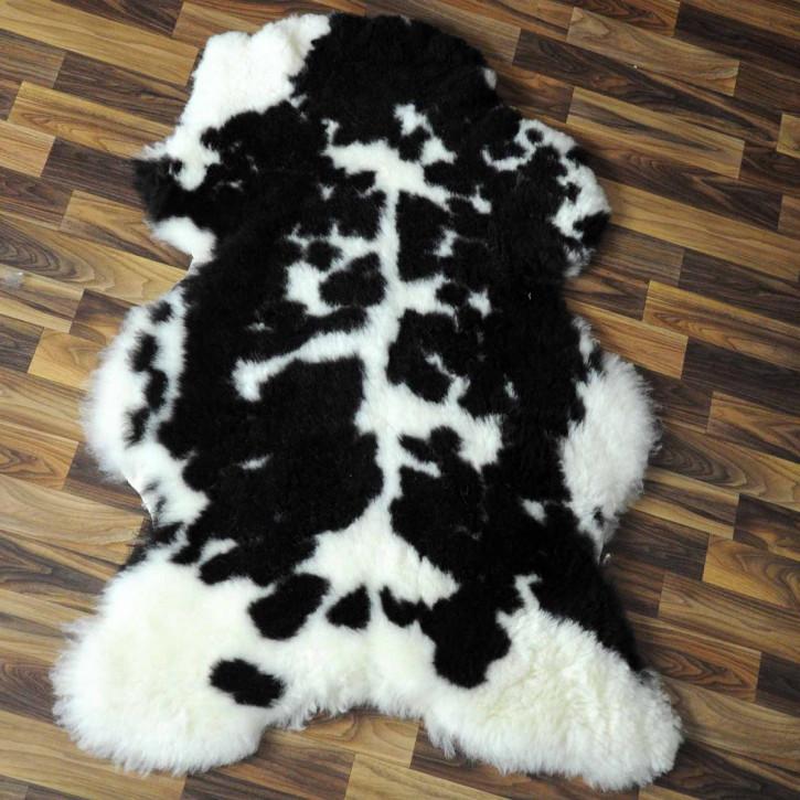 XXXL Island Schaffell schwarzbraun weiß 130x75 Kamin Vorleger #3582