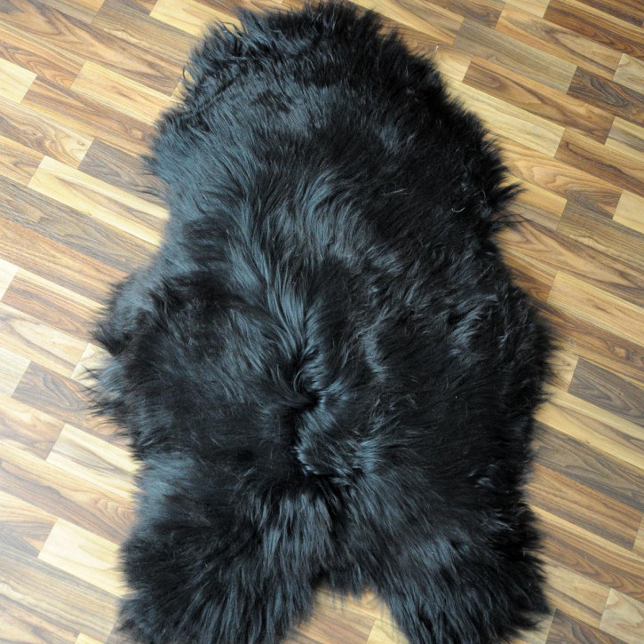 XL Island Schaffell schwarzbraun 110x70 Auflage Deko #3661