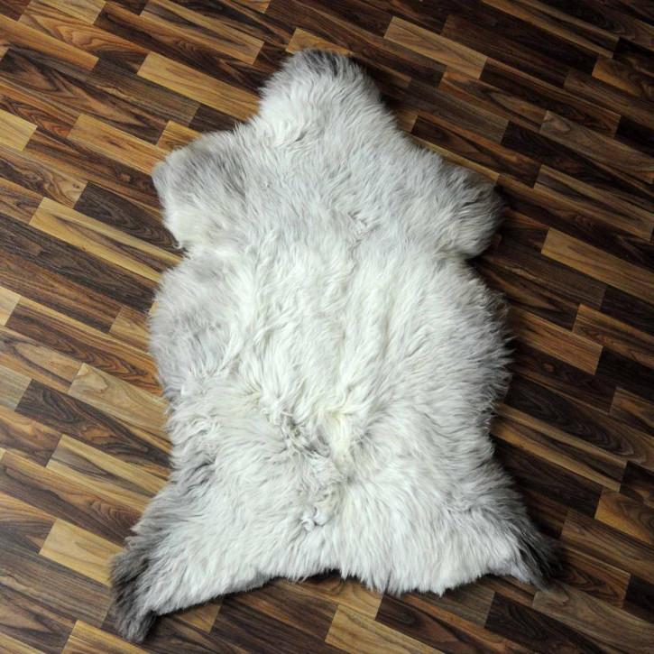 XXXL Schaffell Fell weiß braun geflammt 130x80 Teppich #3931