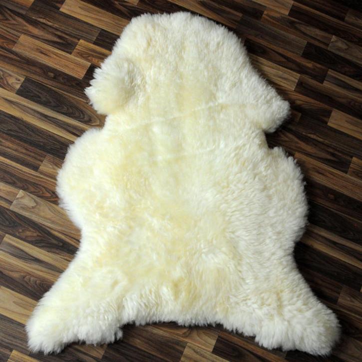 XL Schaffell Fell weiß braun geflammt 115x75 Auflage Teppich #4010
