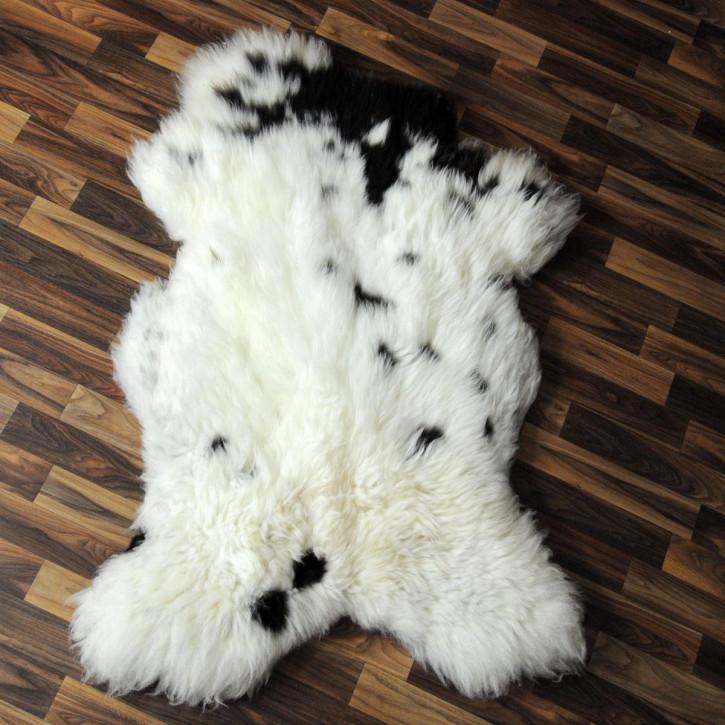 XL Schaffell Fell weiß braun geflammt 115x70 Auflage Teppich #4013