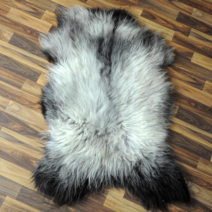 XL Schaffell Fell weiß braun geflammt 115x80 Auflage Teppich #4014