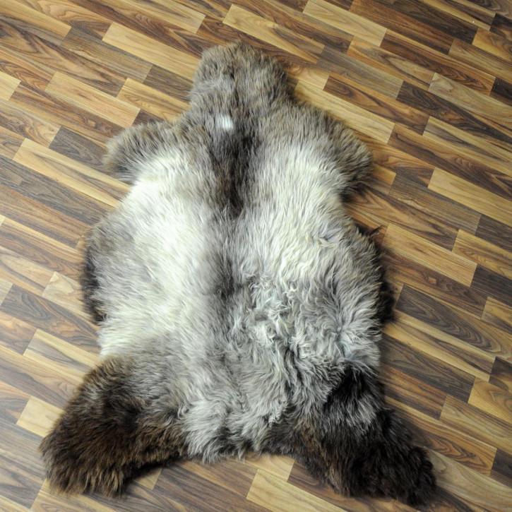 XXL Schaffell Fell weiß braun geflammt 120x75 Auflage Teppich #4018