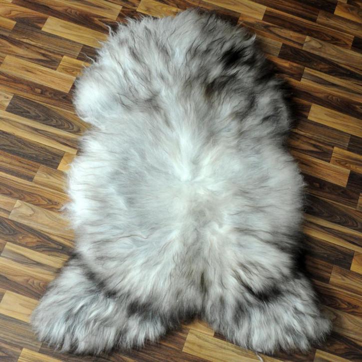 XXL Schaffell Fell weiß braun geflammt 125x75 Auflage Teppich #4290