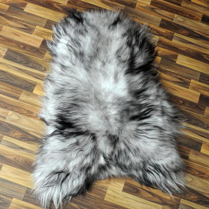 XL Schaffell Fell weiß braun geflammt 115x75 Auflage Teppich #4294