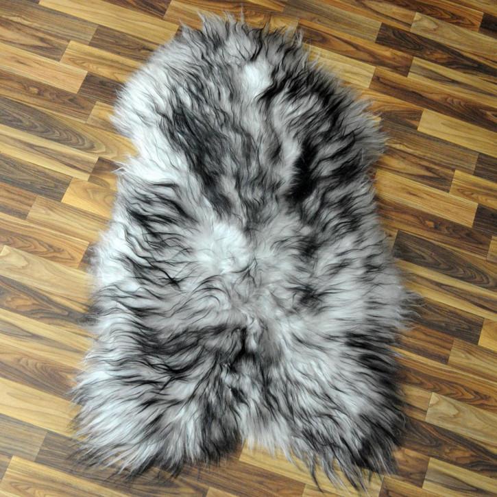 XL Schaffell Fell weiß braun geflammt 110x70 Auflage Teppich #4295