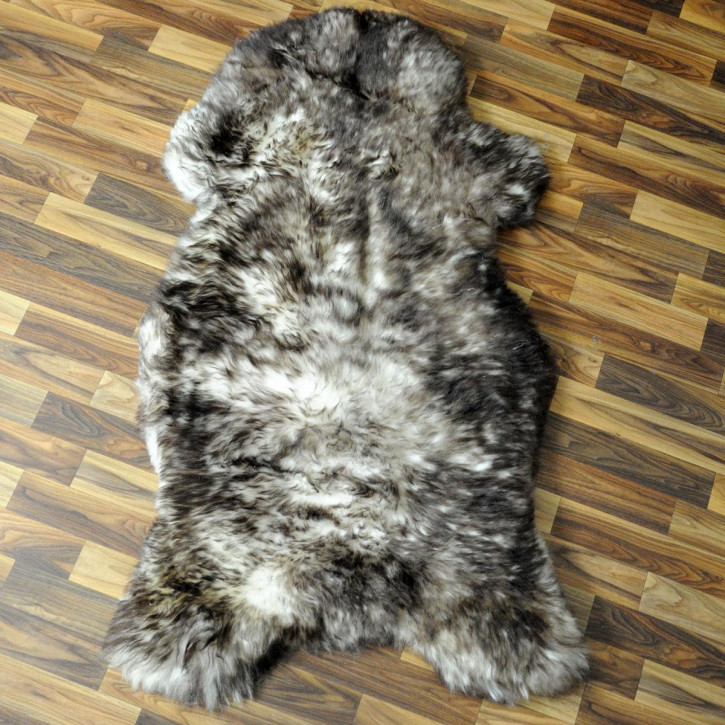 XXL Schaffell Fell weiß braun geflammt 120x70 Auflage Teppich #4306
