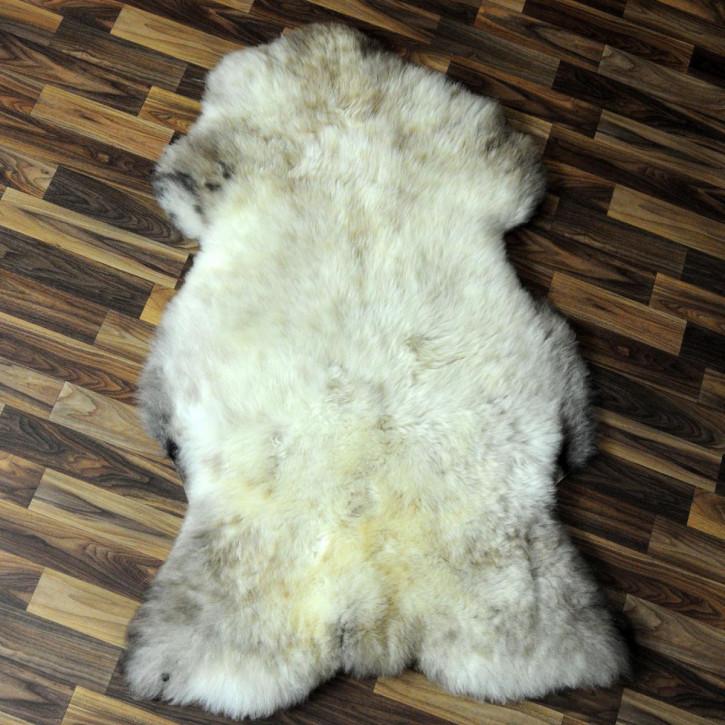 XXL Schaffell Fell weiß braun geflammt 125x75 Auflage Teppich #4307