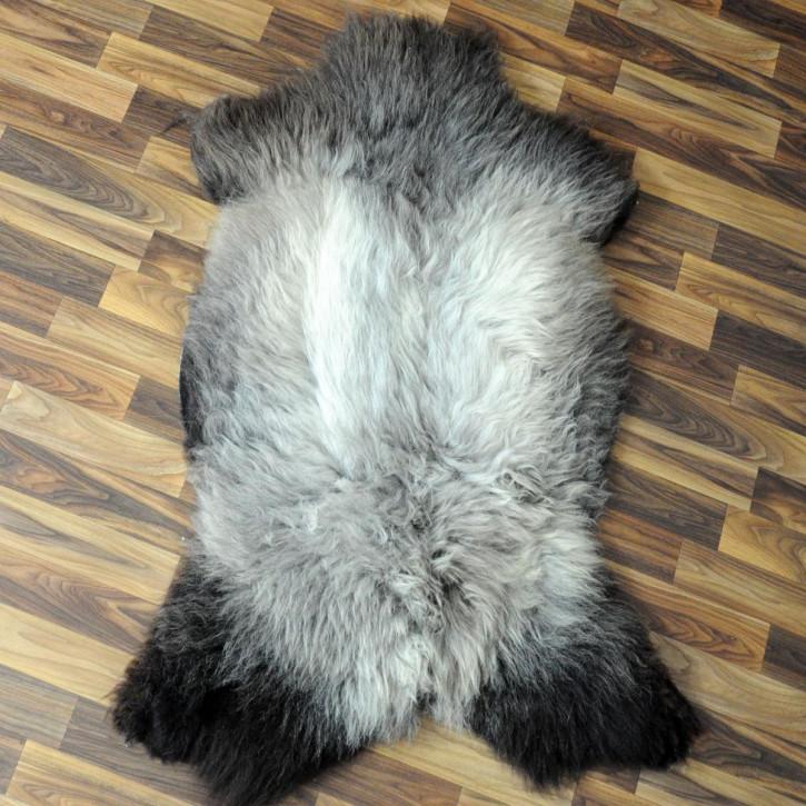 XL Schaffell Fell weiß braun geflammt 110x70 Auflage Teppich #4311