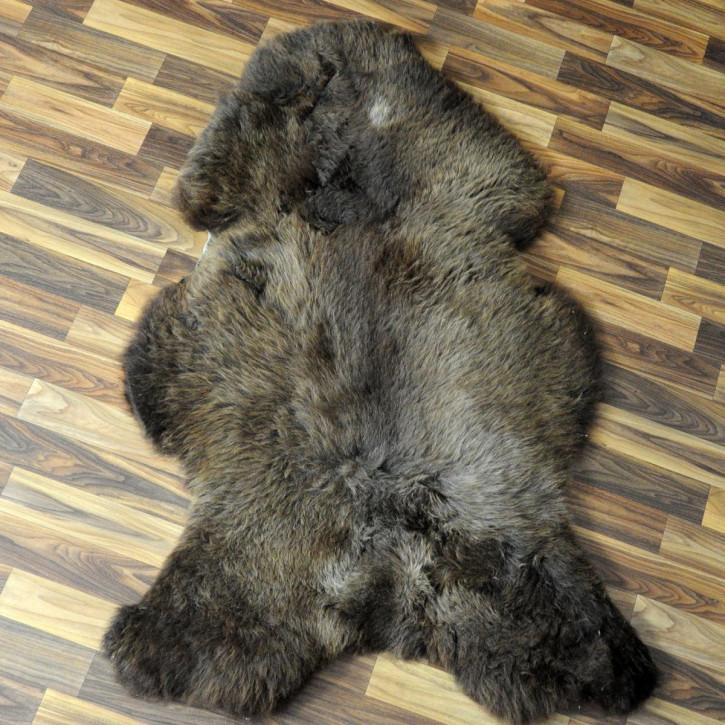 XL Schaffell Fell weiß braun geflammt 115x75 Auflage Teppich #4314