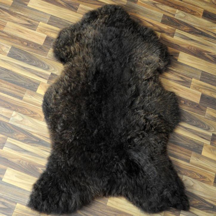 XL Schaffell Fell weiß braun geflammt 115x75 Auflage Teppich #4316