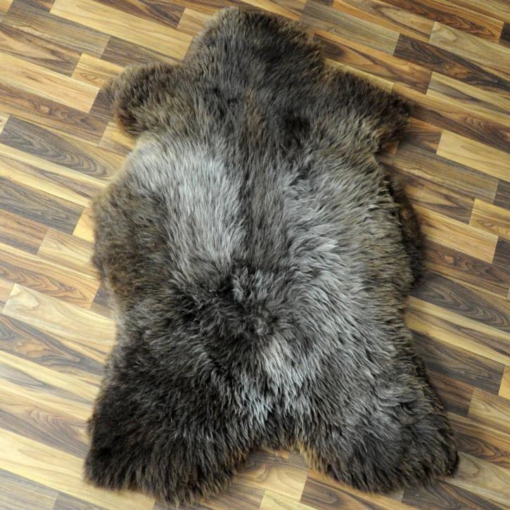 XXL Schaffell Fell weiß braun geflammt 120x75 Auflage Teppich #4318