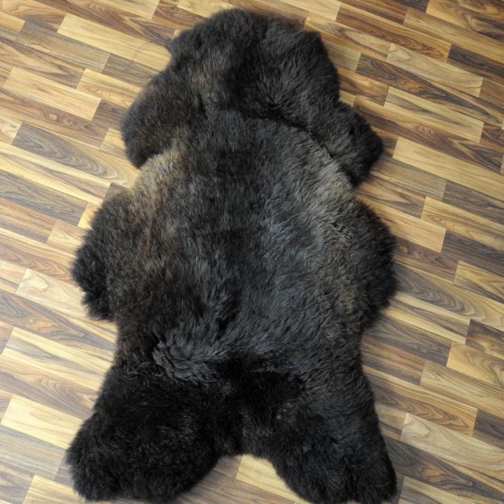 XXL ÖKO Island Schaffell schwarzbraun 120x75 Fell Auflage #4764