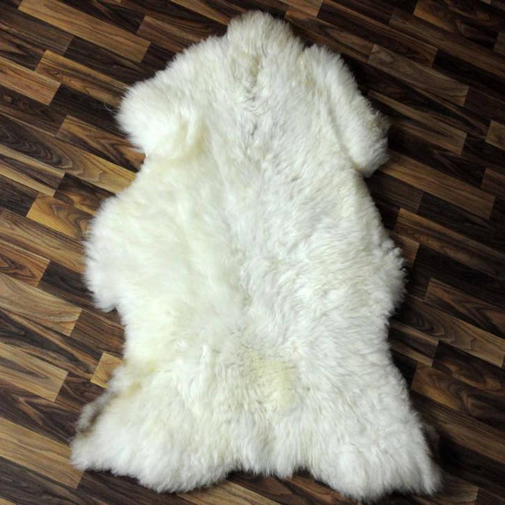 XXXL ÖKO Schaffell Fell creme weiß braun 130x90 Couch Stuhl Auflage #4849