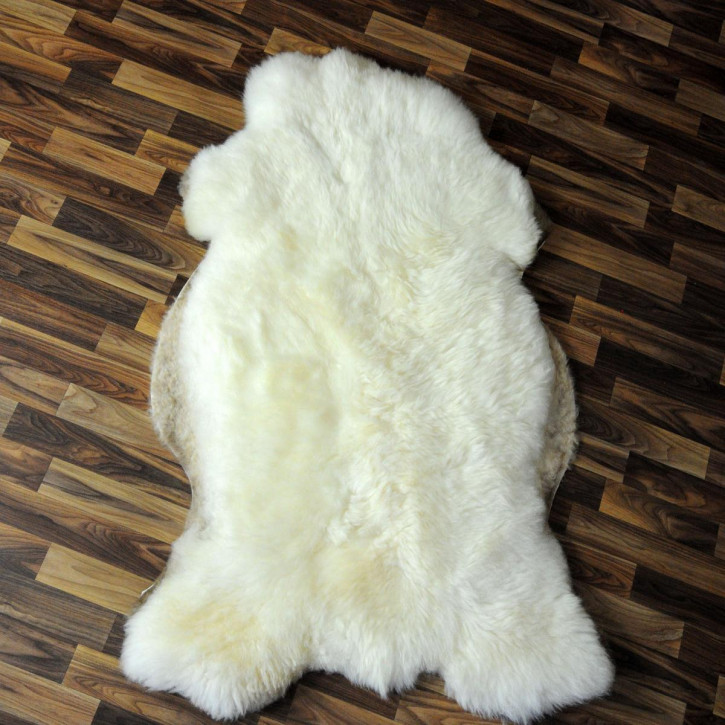 XXXL Schaffell Fell creme weiß braun 130x85 Couch Stuhl Auflage #4856