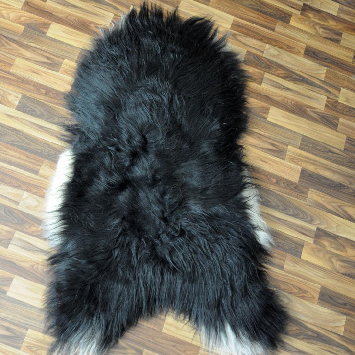 XXL ÖKO Island Schaffell schwarzbraun weiß 120x75 Krampus #5186