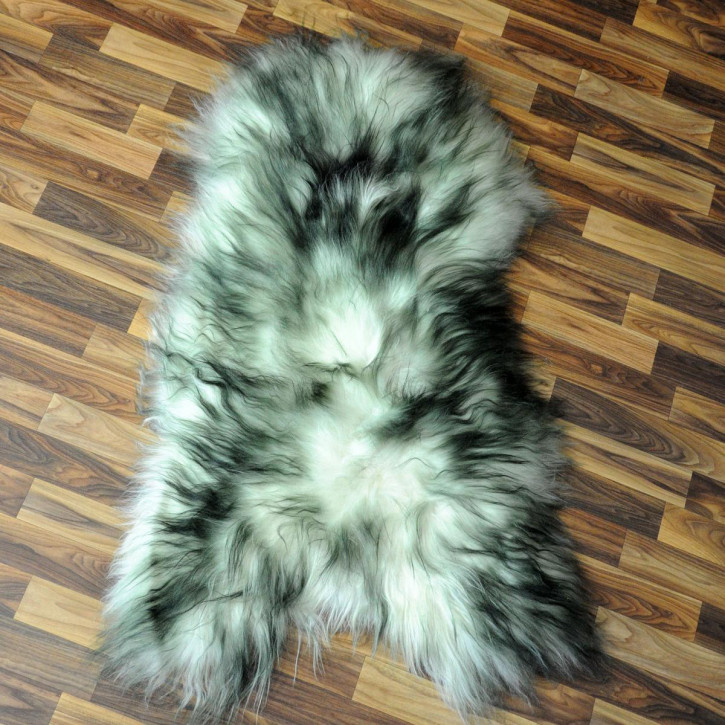 XL ÖKO Island Schaffell weiß schwarz geflammt 110x70 #5421